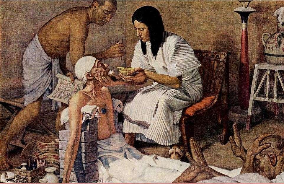 Πίνακας του Robert Thom· ιατρική στην αρχαία Αίγυπτο. Robert Thom's painting; medicine in ancient Egypt