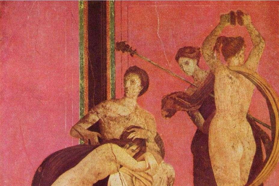 Τοιχογραφία από τη Βίλλα των Μυστηρίων στην Πομπηία. Θεωρείται ότι αναπαριστά βακχική ιερογαμία.