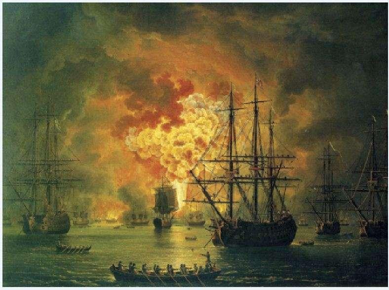 To κάψιμο του τουρκικού στόλου στα Ορλωφικά