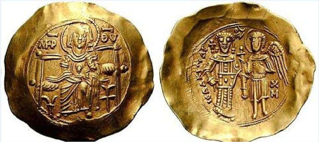 Νόμισμα ὑπέρπυρον του Ισαάκιου Β΄ Άγγελου.