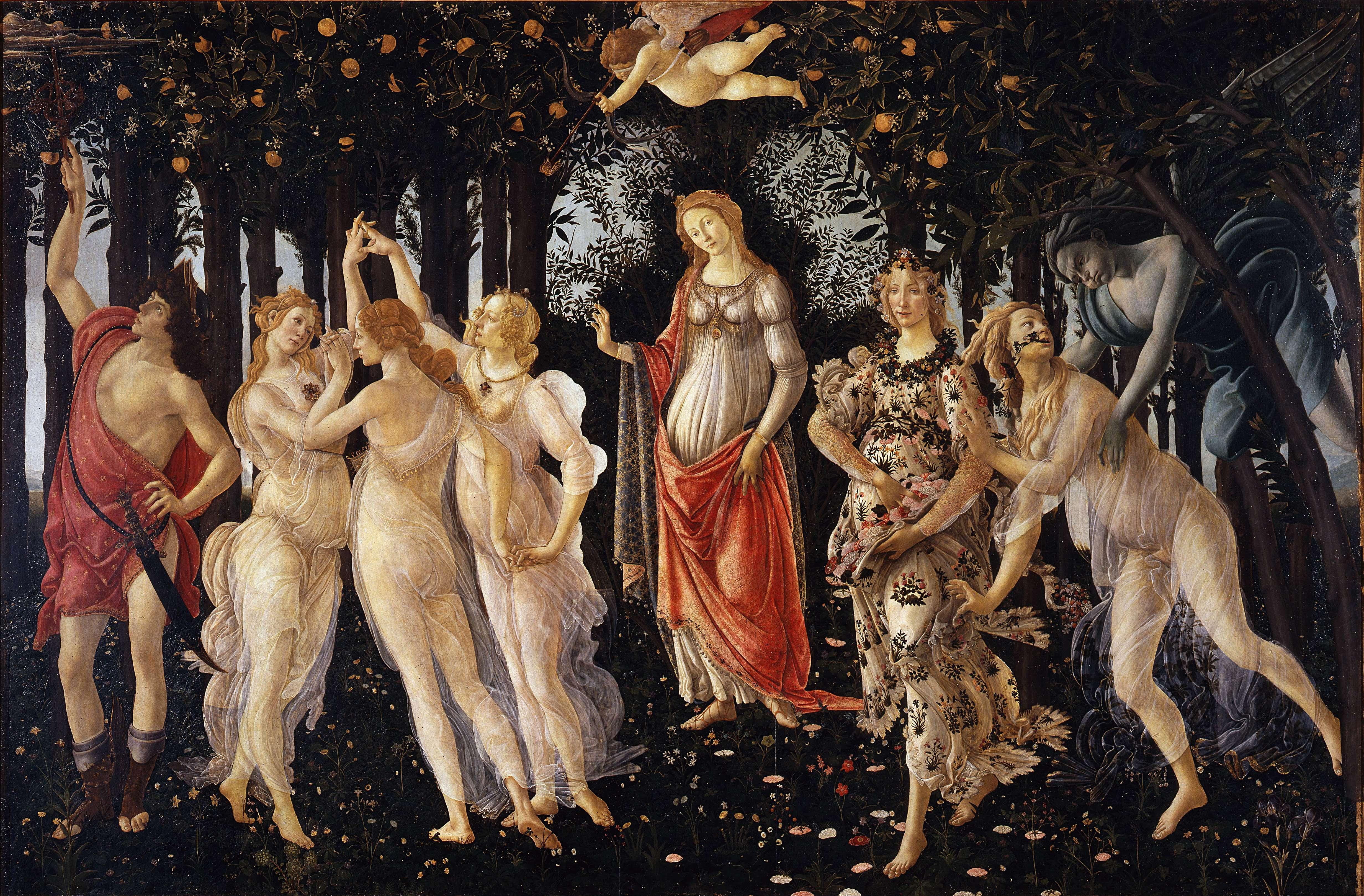 Σάντρο Μποττιτσέλλι. Αλληγορία της Άνοιξης (περ. 1482). Στο κέντρο της σύνθεσης δεσπόζει η μορφή της Αφροδίτης, ενώ πάνω από το κεφάλι της, ο Έρωτας ρίχνει τα βέλη του με τα μάτια δεμένα. Στο αριστερό τμήμα του πίνακα διακρίνονται οι τρεις Χάριτες και ο Ερμής. Στο δεξί άκρο, ο Ζέφυρος κυνηγά τη νύμφη Χλωρίδα, δίπλα από την οποία βρίσκεται η θεά των λουλουδιών Φλώρα.