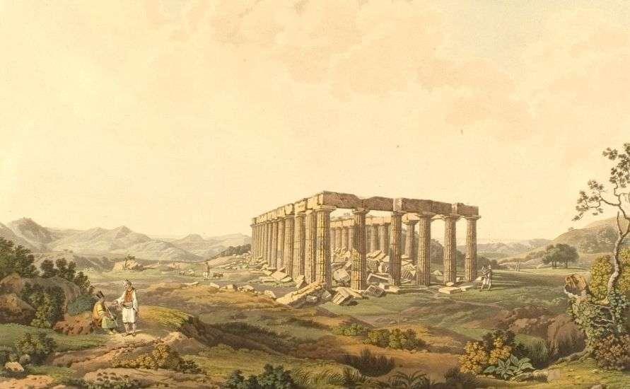 Ο ναός του Επικουρίου Απόλλωνα στις Βάσσες της Φιγαλείας το 1821 (Dodwell Edward).