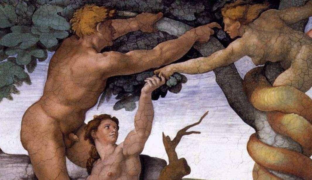 Μιχαήλ Άγγελος. Το Προπατορικό αμάρτημα και η Έξωση, οροφή της Καππέλλα Σιστίνα (λεπτομέρεια).