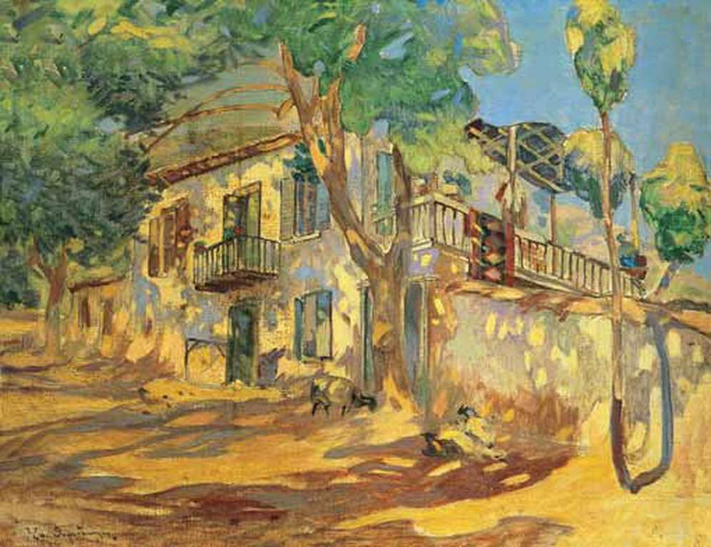 Επαμεινώνδας Θωμόπουλος (Πάτρα, 1878 – Αθήνα, 4 Ιανουαρίου 1976). Σπίτι στο χωριό