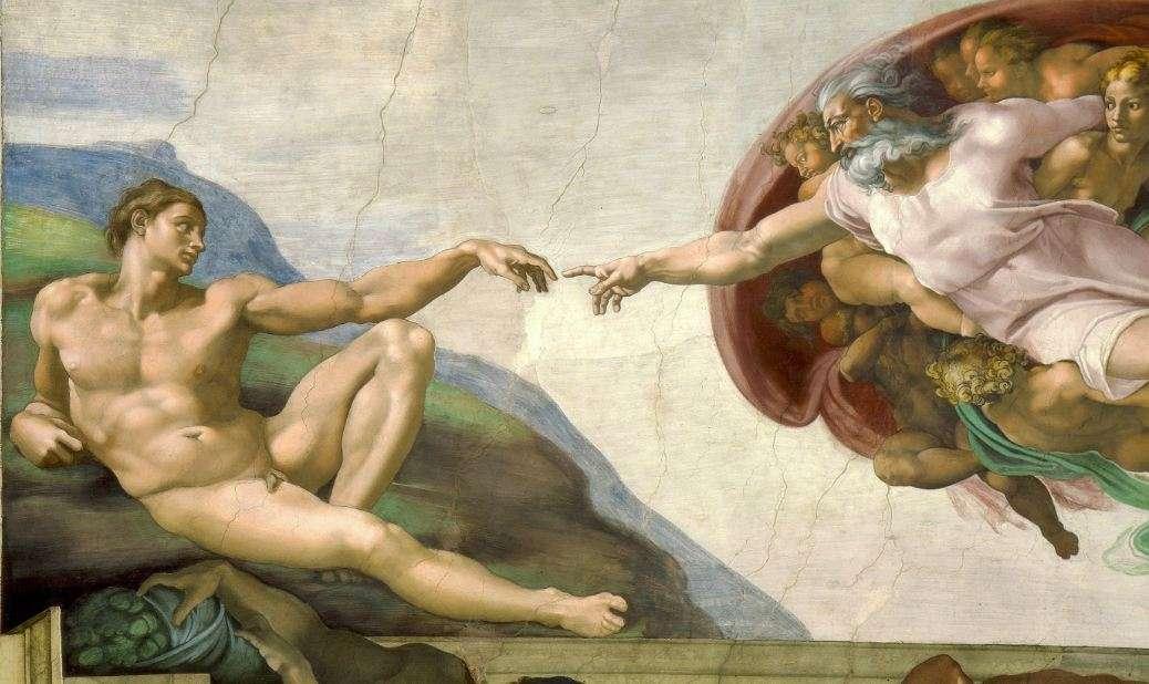 Μιχαήλ Άγγελος. Η δημιουργία του Αδάμ, οροφή της Καππέλλα Σιστίνα (λεπτομέρεια).