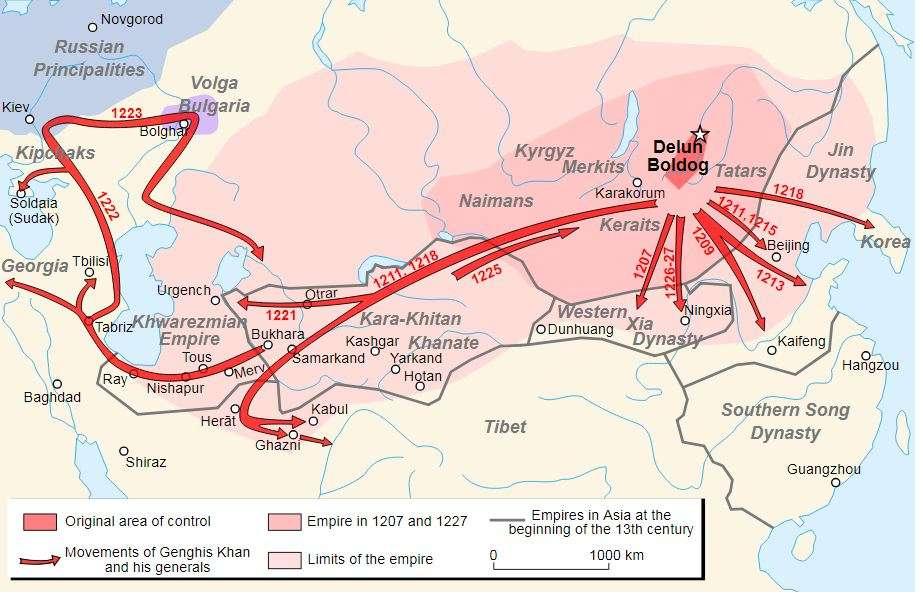 Η επέκταση της αυτοκρατορίας του Τζένγκις Χαν, από την Κορέα έως την Κασπία θάλασσα