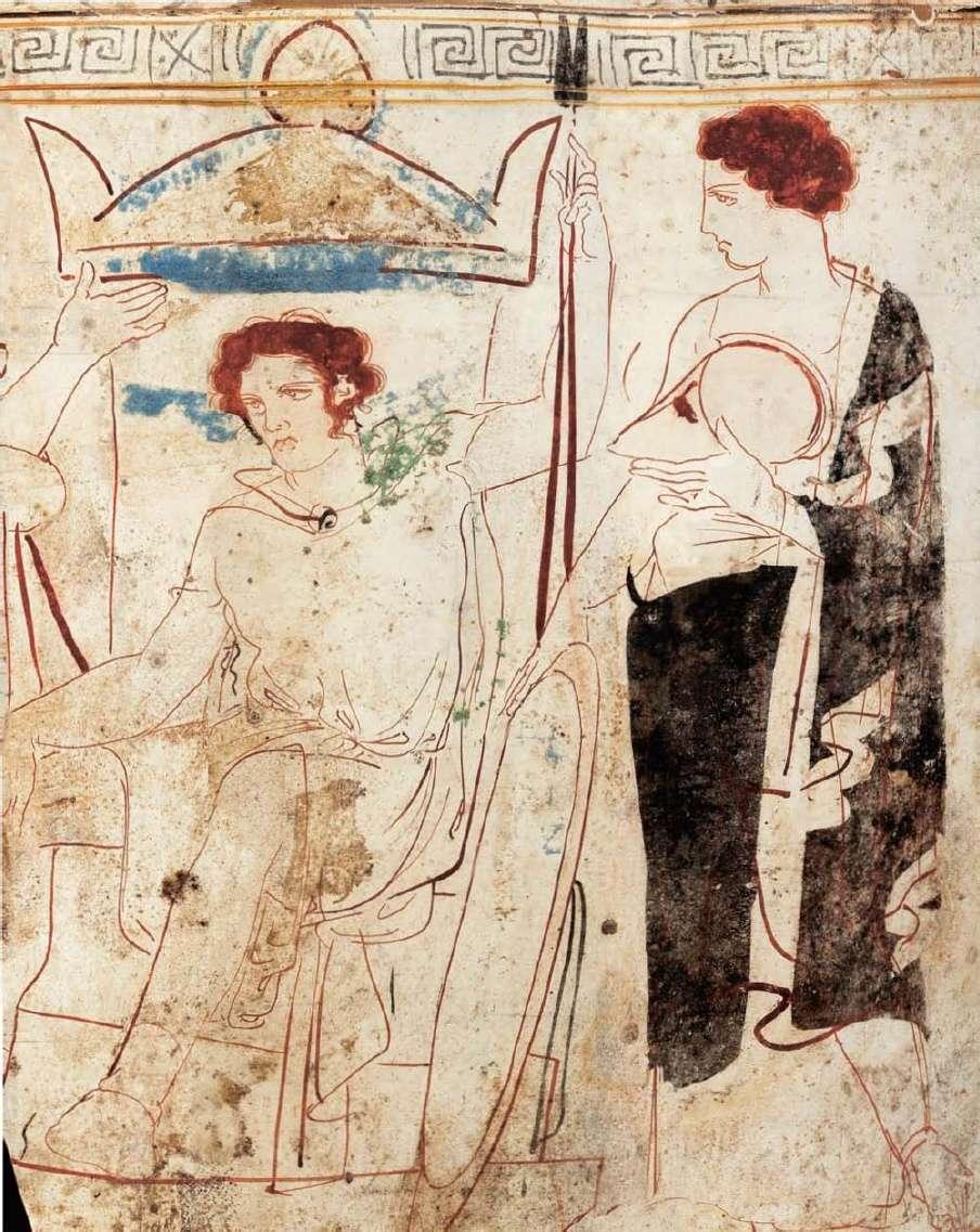 Αττική λήκυθος από την Ερέτρια. Ένας πολεμιστής, που είναι ο νεκρός, κάθεται μπροστά από την επιτύμβια στήλη του τάφου του, πλαισιωμένος από τη σύζυγό του, που του κρατάει τα όπλα, και έναν νέο άνδρα. Έργο κάποιου ζωγράφου της Ομάδας των Καλαμών . 410-400 π.Χ. Εθνικό Αρχαιολογικό Μουσείο. Αθήνα. Attica lekythos from Eretria. A warrior, who is dead, sits in front of the tombstone of his tomb, framed by his wife holding the arms, and a new man. The work of a Kalamata painter. 410-400 BC National Archaeological Museum. Athena.