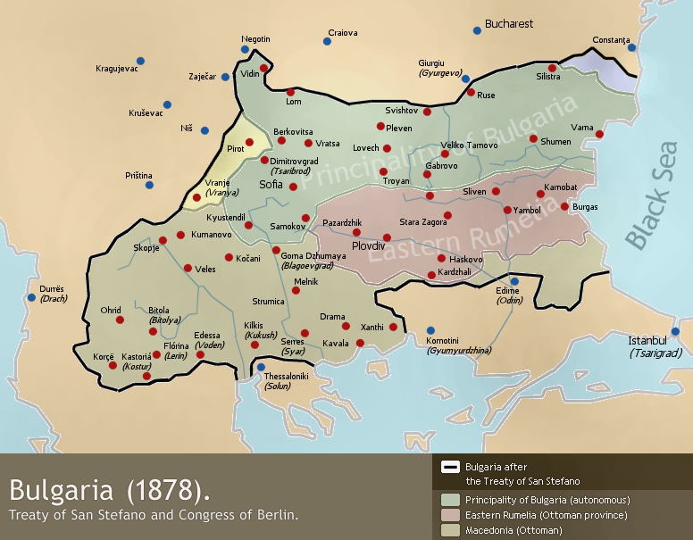 Τα σύνορα της Μεγάλης Βουλγαρίας σύμφωνα με τη συνθήκη του Αγίου Στεφάνου