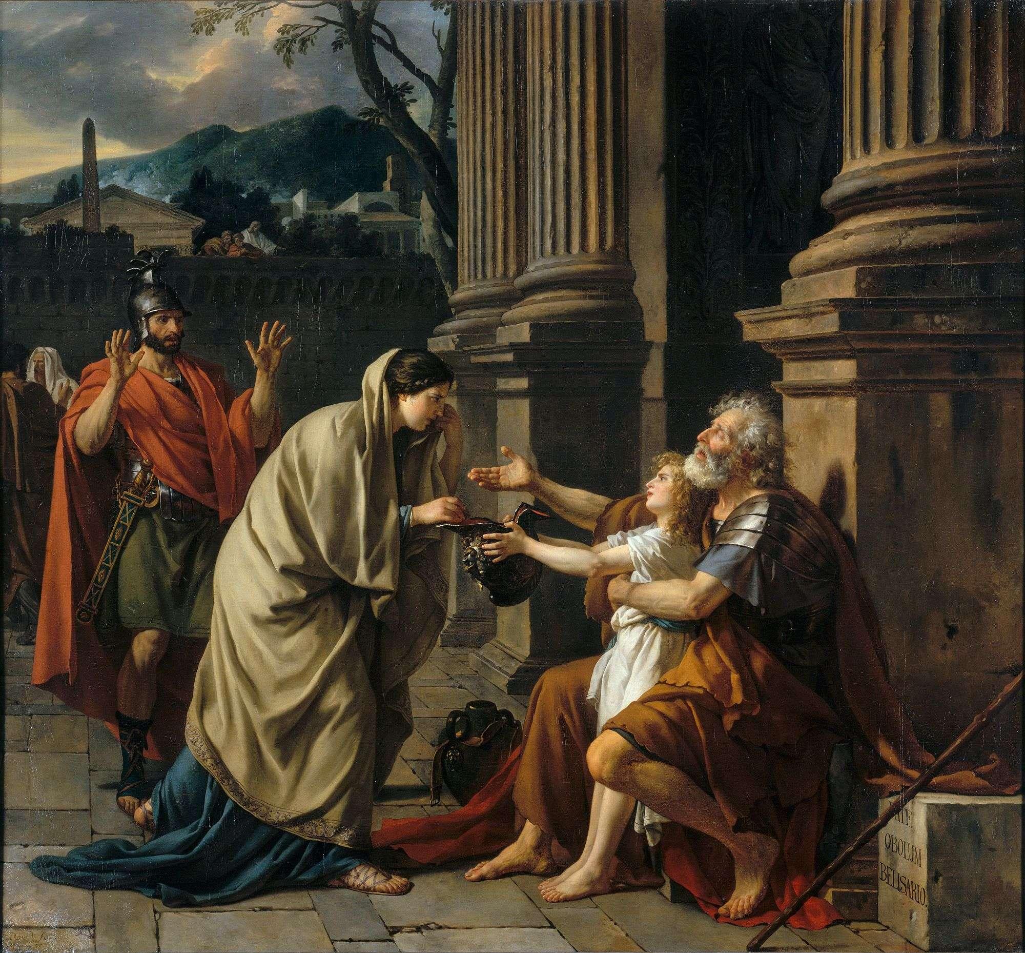 Ο Βελισάριος ως τυφλός ζητιάνος σε πίνακα τού Ζακ-Λουί Νταβίντ (1781). Οι διηγήσεις που ήθελαν τον Βελισάριο να καταλήγει τυφλός επαίτης εμφανίστηκαν στο Βυζάντιο κυρίως από τον 12ο αι. και επηρέασαν τη δυτικοευρωπαϊκή τέχνη και γραμματεία μέχρι και τους νεότερους χρόνους, παραμερίζοντας την πραγματική ιστορία.