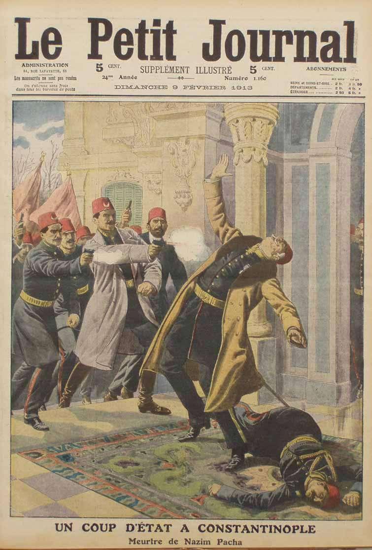 Ο Ναζίμ Πασάς, αρχηγός του επιτελείου του Οθωμανικού στρατού, δολοφονήθηκε από τους Νεότουρκους λόγω της αποτυχίας του.