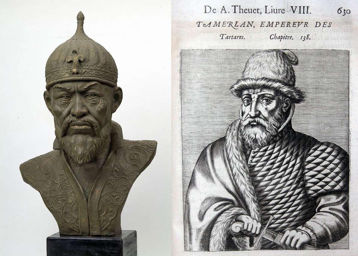 Αριστ., μπούστο του Ταμερλάνου, από τον Mikhaïl  Guerassimov. Βλ. ymuhin.ru. Δεξ., γκραβούρα από το βιβλίο Tamerlan, Pourtraits et Vies des Hommes Illustres, André Thévet, Paris 1584.