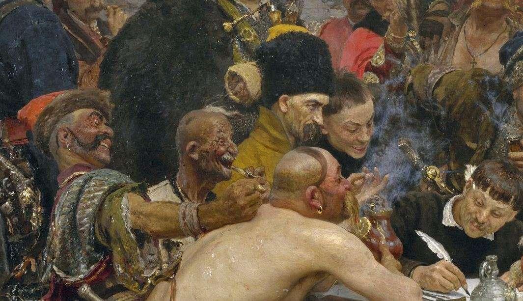 Η απάντηση των Κοζάκων στον Σουλτάνο Μεχμέτ Α'. (λεπτομέρεια). Reply of the Zaporozhian Cossacks to Sultan Mehmed IV (1891). Ilya Repin.
