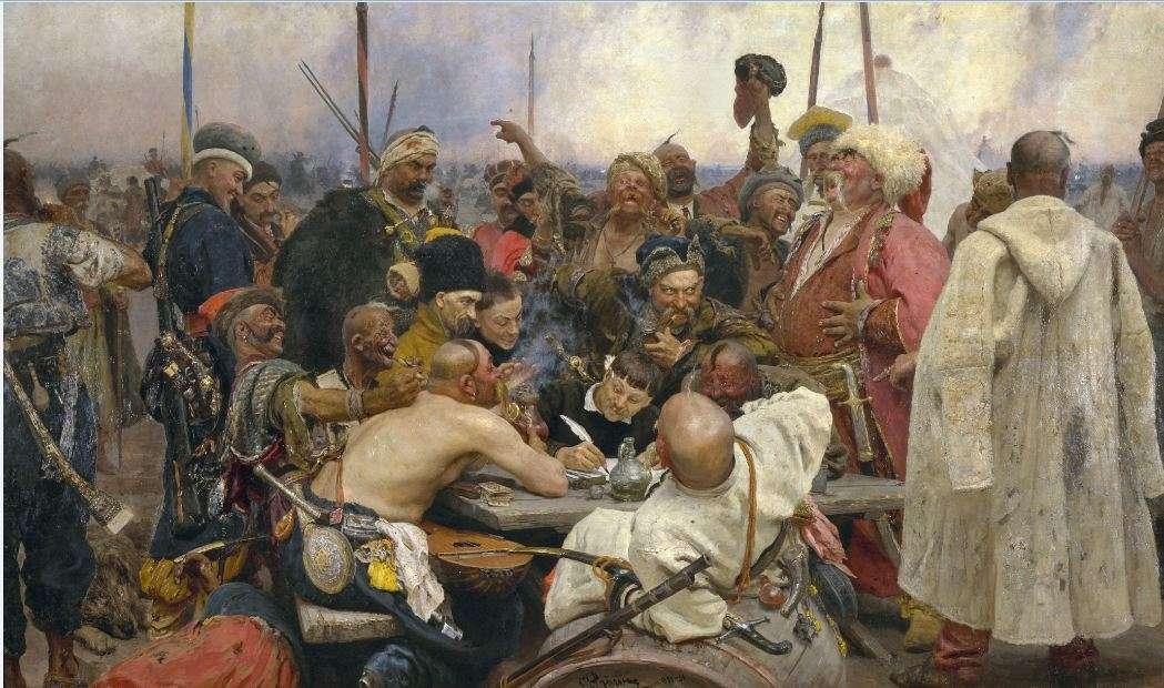 Η απάντηση των Κοζάκων στον Σουλτάνο Μεχμέτ Α'. Reply of the Zaporozhian Cossacks to Sultan Mehmed IV (1891). Ilya Repin.