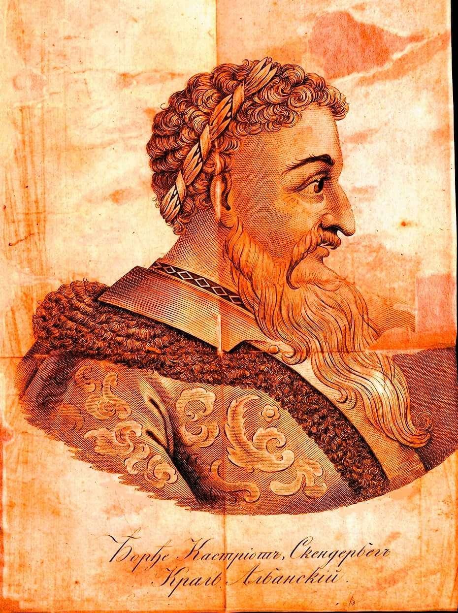 Ο Γεώργιος Καστριώτης ή Σκεντέρμπεης (1404 ή 1405 - 17 Ιανουαρίου 1468), γνωστός στην αλβανική βιβλιογραφία ως Γκιέργκι Καστριότι (Gjergj Kastrioti Skënderbeu). Προσωπογραφία.