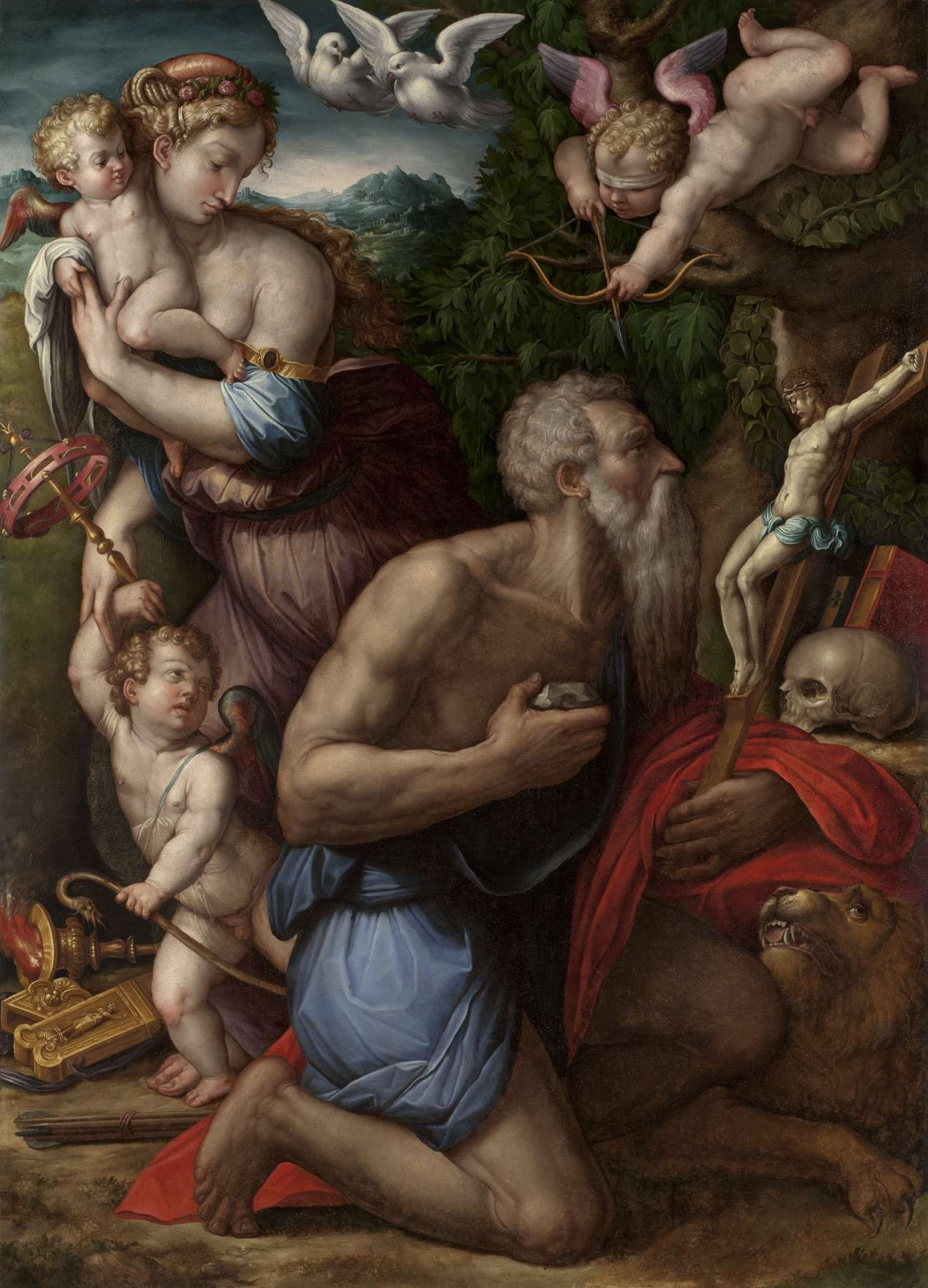 Τζόρτζο Βαζάρι (Giorgio Vasari, 30 Ιουλίου 1511 - 27 Ιουνίου 1574). Οι πειρασμοί του Αγίου Ιερωνύμου, 1541, Φλωρεντία, Παλατινή Πινακοθήκη.