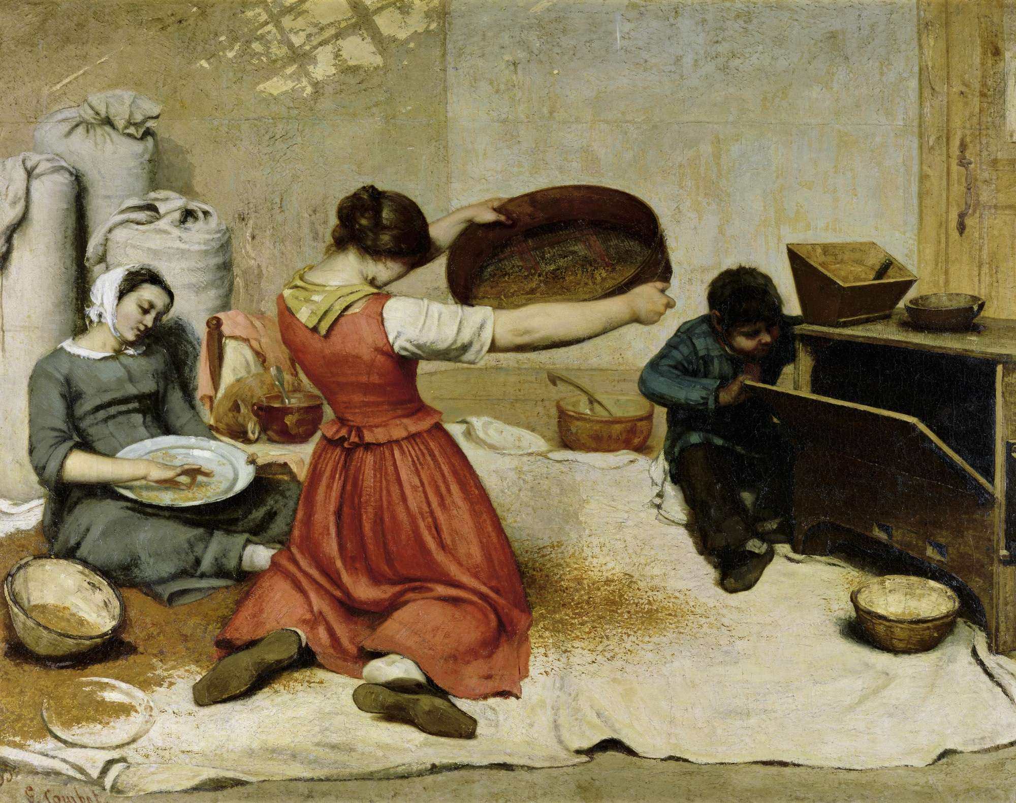 Oι κοσκινίστρες του σιταριού (Νάντη, Μουσείο Καλών Τεχνών),1854. Γκυστάβ Κουρμπέ (γαλ. Jean Désiré Gustave Courbet, 10 Ιουνίου 1819 - 31 Δεκεμβρίου 1877).