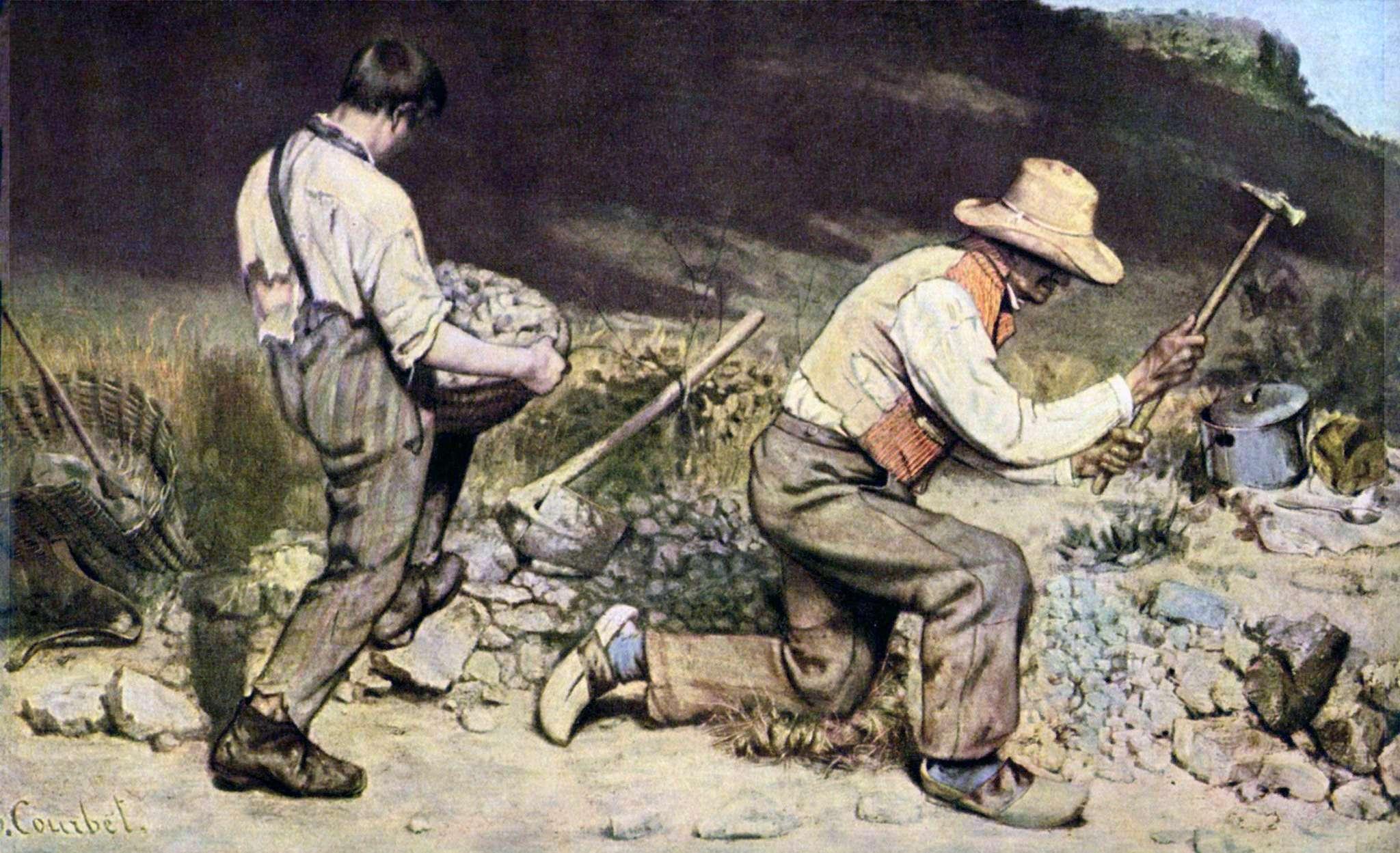 Εργάτες που σπάζουν πέτρες, 1849. Γκυστάβ Κουρμπέ (γαλ. Jean Désiré Gustave Courbet, 10 Ιουνίου 1819 - 31 Δεκεμβρίου 1877).