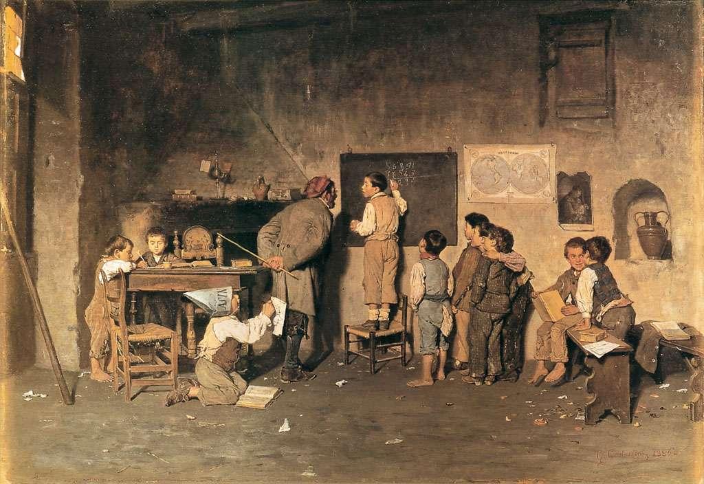 Το σχολείο του χωριού. La scuola del Villaggio, olio su tavola 1870 (45×35 cm).si trova presso la sede dell'INDIRE (Istituto Nazionale di Documentazione, Innovazione e Ricerca Educativa), a Firenze.