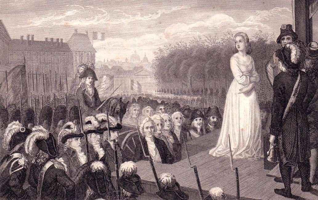 Η βασίλισσα Μαρία Αντουανέτα λίγο πριν την εκτέλεση της, στις 16 Οκτωβρίου 1793.