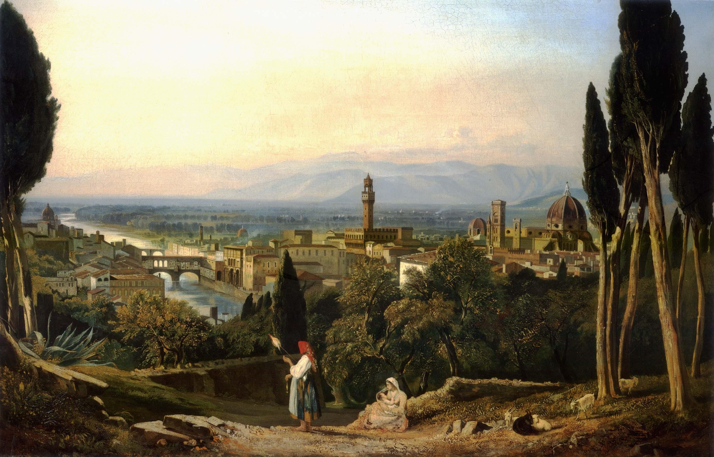 Γουίλλιαμ Τζέιμς Μιούλερ (αγγλικά: William James Müller, 28 Ιουνίου 1812 – 8 Σεπτεμβρίου 1845). Άποψη της Φλωρεντίας και του ποταμού Άρνο από το Σαν Μινιάτο.