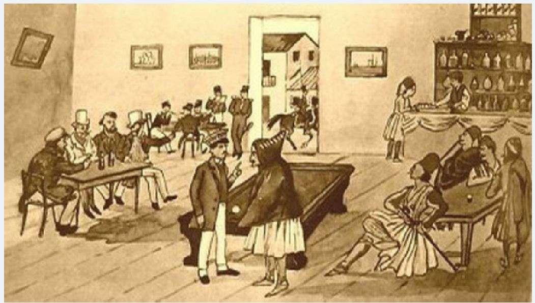 ια περίπου σαράντα χρόνια, το καφενείο «Ωραία Ελλάς» υπήρξε το πολυτελές στέκι των καπετάνιων του 1821, ξένων διπλωματών, περιηγητών, πολιτικών, ποιητών, αλλά και των υπολοίπων Αθηναίων.
