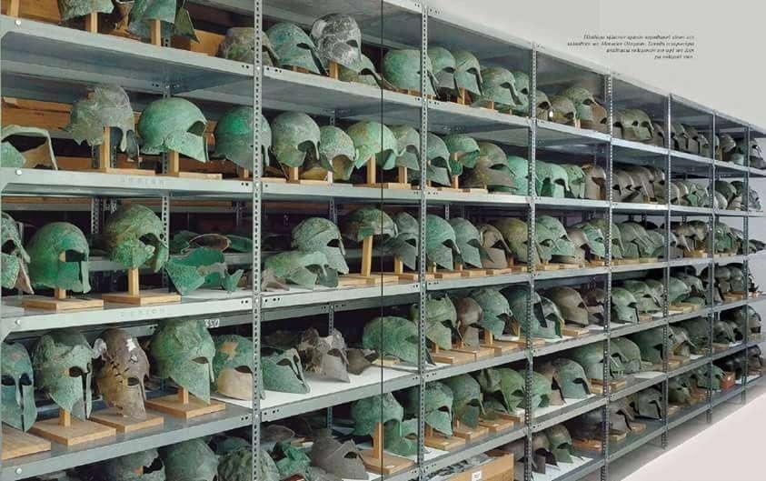 Αρχαία Ελληνικά κράνη της κλασικής περίοδου, από την αποθήκη του Μουσείου της Ολυμπίας. Ancient Greek helmets, classical period, from Olympia Museum storeroom.