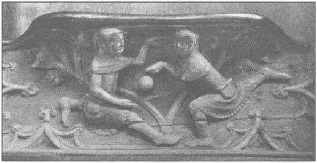 Παραδοσιακοί ποδοσφαιριστές. Καθεδρικός ναός του Γκλάουσεστερ, γύρω στο 1340. Traditional footballers around 1340.