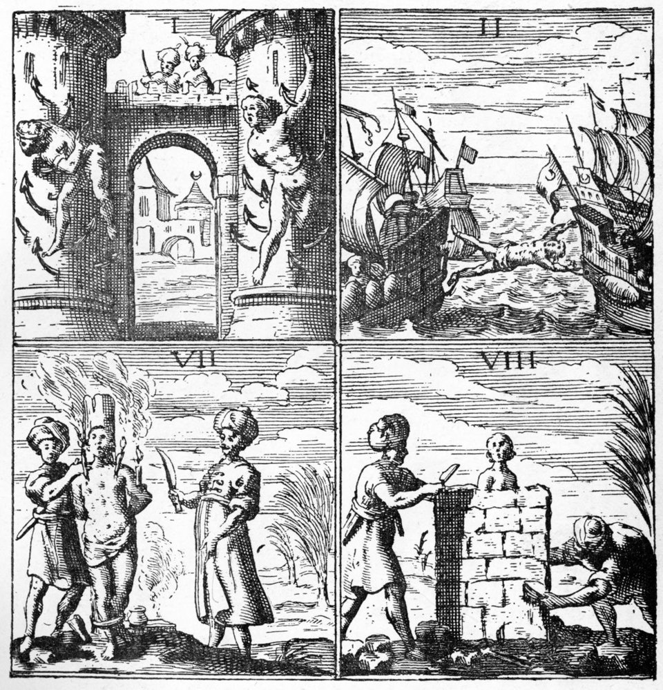 Τα μαρτύρια των αιχμαλώτων ξεκινούσαν από την πρώτη στιγμή, καθώς σύρονταν βίαια στα πλοία, με βρισιές και χτυπήματα. Στην συνέχεια στοιβάζονταν μέσα στα σκοτεινά αμπάρια, σε κλειστοφοβικές συνθήκες, εκτεθειμένοι στην ακαθαρσία και τα μικρόβια.