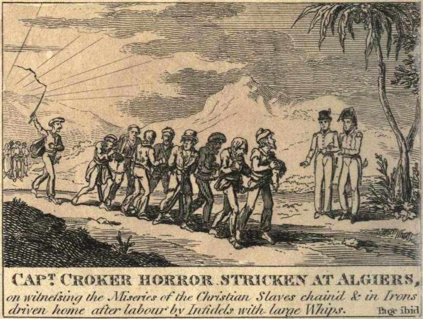 Χριστιανοί δούλοι στο Αλγέρι. 1815 illustration of a British Captain horrified by seeing Christians worked as slaves in Algiers.