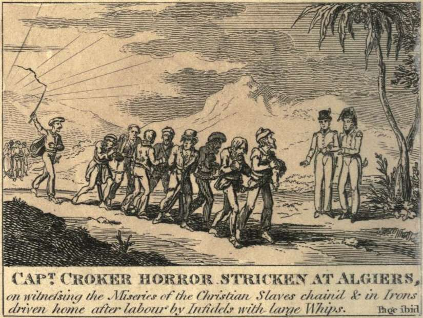 Χριστιανοί δούλοι στο Αλγέρι. 1815 illustration of a British Captain horrified by seeing Christians worked as slaves in Algiers.