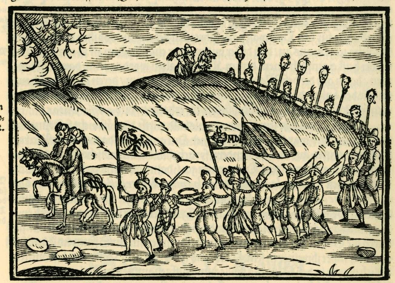 Οθωμανοί με Χριστιανούς σκλάβους. Ottomans with Christian slaves depicted in a 1608 engraving published in Salomon Schweigger's account of a 1578 journey.
