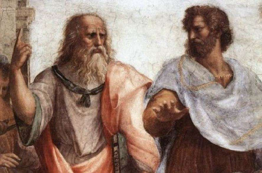 Πλάτων (αριστερά) και ο Αριστοτέλης (δεξιά), λεπτομέρεια από τη Σχολή των Αθηνών, Ραφαήλ.