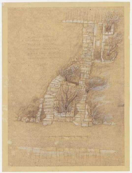 Διαμόρφωση του χώρου γύρω από την Ακρόπολη και τον Λόφο του Φιλοπάππου, 1954-1958: Κάτοψη κλιμακωτής ανόδου από την πλατεία στάθμευσης για την Ακρόπολη