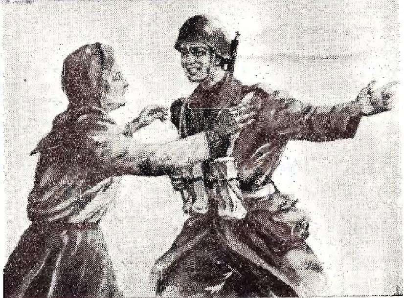 «Πήγαινε και μη με σκέπτεσαι.» Έλληνας στρατιώτης αποχαιρετά τη μάνα του φεύγοντας για το αλβανικό μέτωπο. Αφίσα εποχής.