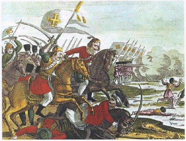 Έγχρωμη γαλλική χαλκογραφία. Οι Έλληνες, ως τακτικός στρατός, τρέπουν σε φυγή τους Τούρκους. Αθήνα. Γεννάδειος Βιβλιοθήκη.