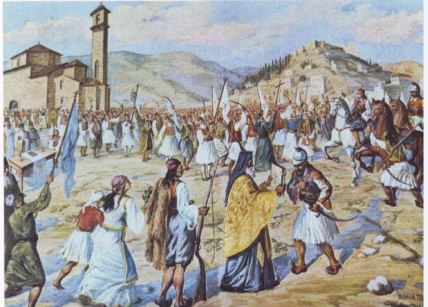 Αναπαράσταση της ορκωμοσίας των Ελλήνων επαναστατών στο ναό των Αγίων Αποστόλων στις 23 Μαρτίου 1821. Πίνακας του ζωγράφου Δράκου. Μουσείο Καλαμάτας.