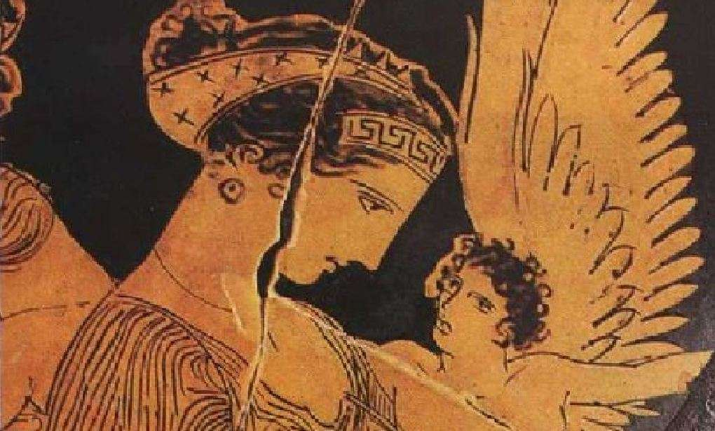 Η Ελένη με τον Έρωτα στην αγκαλιά. Παράσταση σε αγγείο.