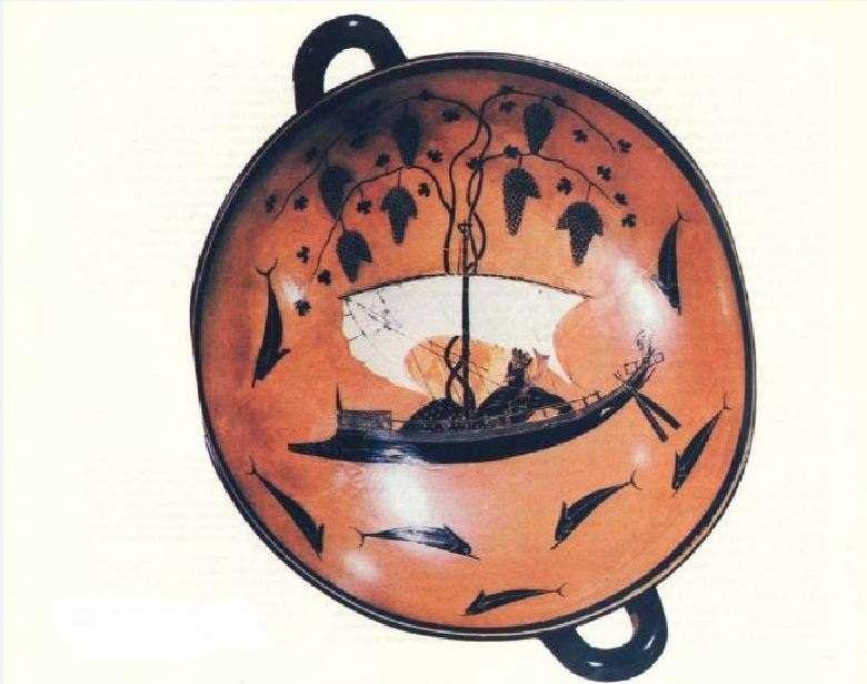 Αττική κύλιξ (540-530 π.Χ). Μόναχο. Ο Διόνυσος ταξιδεύει με το πλοίο του. Attic Cylinder (540-530 BC). Munich. Dionysos travels with his ship.