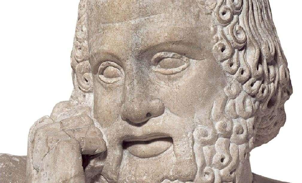 Ηλικιωμένος μάντης από τον ναό του Διός στην αρχαία Ολυμπία (472-456 π.Χ.). Αρχαιολογικό Μουσείο Ολυμπίας. Elderly saint from the temple of Zeus in ancient Olympia (472-456 BC). Archaeological Museum of Olympia.