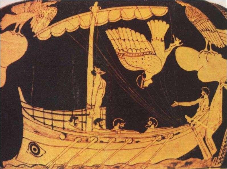Ο Οδυσσέας δεμένος στο κατάρτι του πλοίου, μαγεμένος, αντιστέκεται στο τραγούδι των σειρήνων. Αγγείο του Βρετανικού Μουσείου. Odysseus, tied to the ship's mast, enchanted, resists the siren song. Vessel of the British Museum.