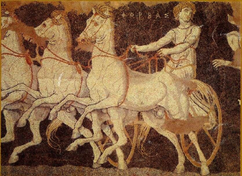 Λεπτομέρεια από ψηφιδωτό δάπεδο της Πέλλας (λεπτομέρεια). Γύρω στα 300 π.Χ. Απεικονίζεται η αρπαγή της Ελένης από τον Θησέα. Detail of mosaic floor of Pella (detail). Around 300 BC It depicts the rapture of Eleni by Theseus.
