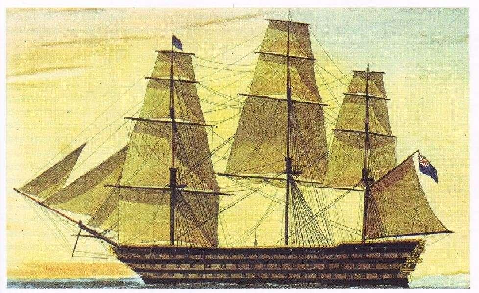 Τρίκροτο πολεμικό πλοίο από την εποχή της επανάστασης του 1821.