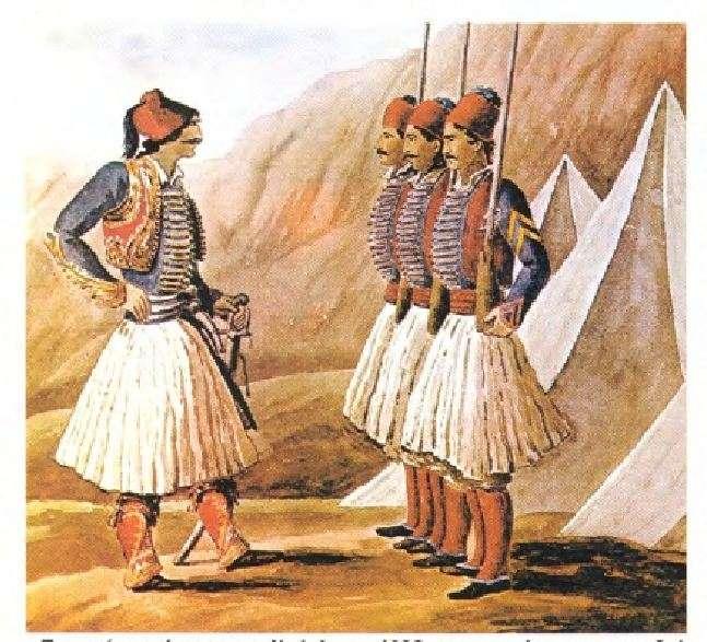 «Τακτικοί» Έλληνες στρατιώτες στο Ναύπλιο γύρω στα 1830. Από το λεύκωμα του Peytier.