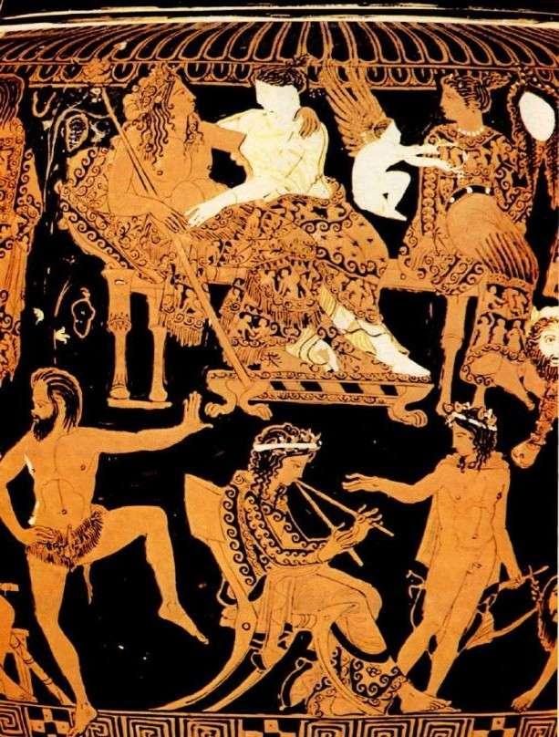 Κρατήρας του Προνόμου, όπου εικονίζεται ολόκληρος ο θίασος ενός σατυρικούς δράματος μετά την παράσταση. Το θέμα είναι η απελευθέρωση της Ησιόνης από τον Ηρακλή. Αρχές 4ου αιώνα π.Χ. Εθνικό Μουσείο της Νεαπόλεως. Crater of the Prize, depicting the whole theater of a satirical drama after the show. The issue is the release of Isis by Hercules. Early 4th century BC National Museum of Naples.