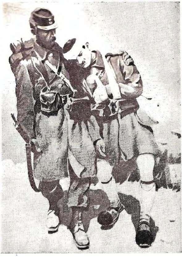 Έλληνες στρατιώτες στον πόλεμο του 1940. Απεικόνιση εποχής.