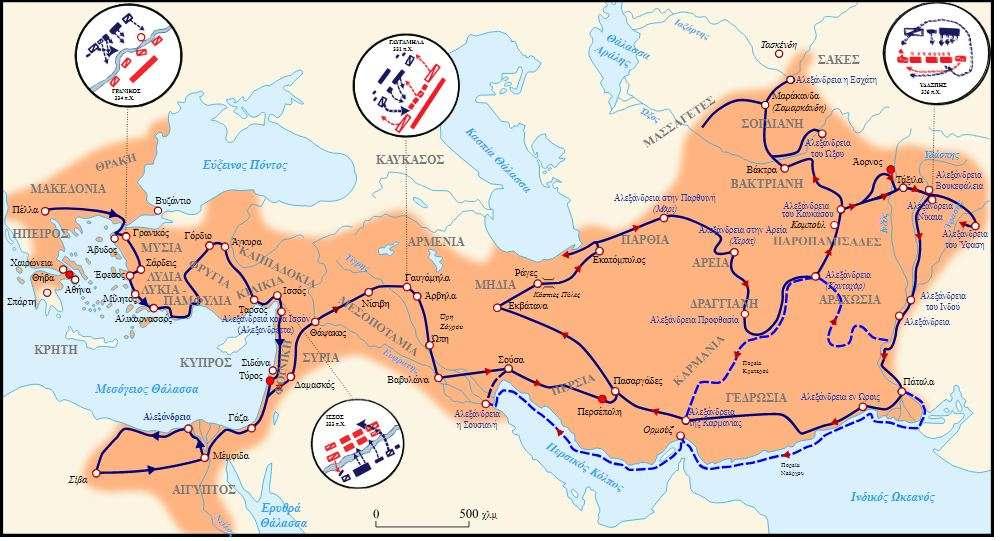 Χάρτης της εκστρατείας, όπου απεικονίζεται και η πορεία προς τα Γαυγάμηλα