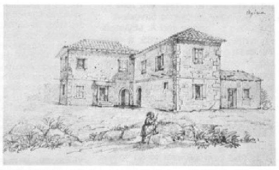 Μεγάλο σπίτι την Αίγινα· από τετράδιο σχεδίων του Χριστιανού Χάνσεν· αρχές 19ου αιώνα.