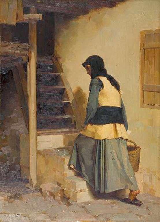 Απόστολος Γεραλής. Κορίτσι που κρατάει καλάθι