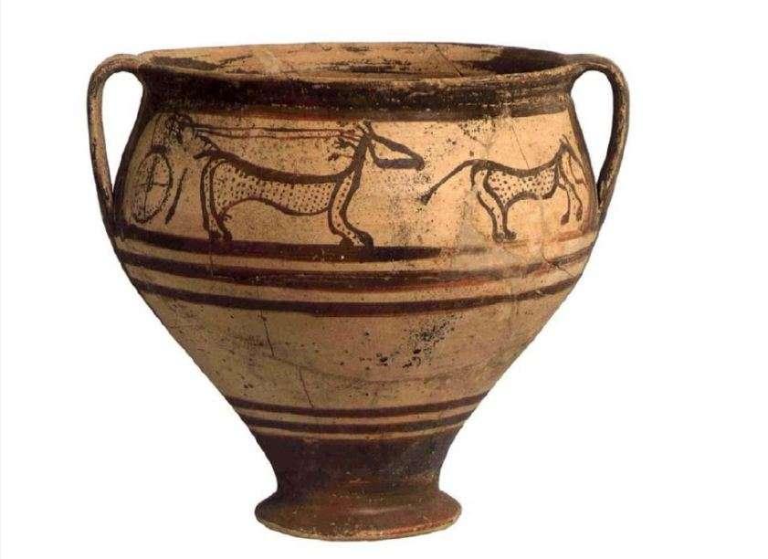 Δίωτος κρατήρας από τη Σαλαμίνα (1350-1250). Αρχαιολογικό Μουσείο Πειραιώς. A twin crater from Salamis (1350-1250). Archaeological Museum of Piraeus.
