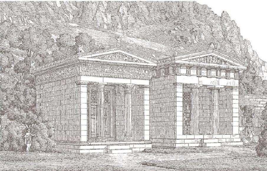 Αναπαράσταση του αιολικού και θησαυρού στο ιερό της Αθηνάς Προναίας από τον Γερμανό αρχαιολόγο H. Pomtow.